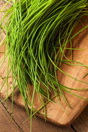 cebollin: Primas orgánicas cebolletas verdes en una tabla de cortar
