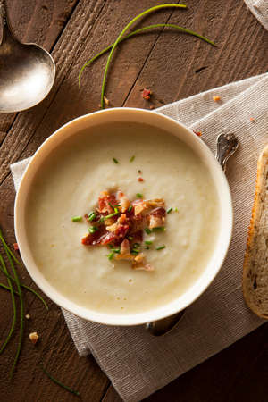 potato soup: Homemade Creamy Potato and Leek Soup in a Bowl