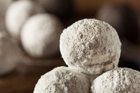 powdered sugar: Homemade Sugary Donut Holes on a Background Stock Photo