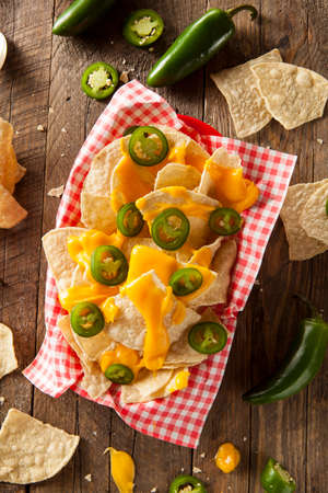 NACHO: Homemade Nachos with Cheddar Cheese and Jalapenos