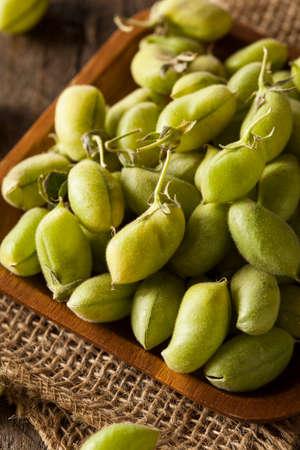 garbanzo bean: Raw Fresh Organic Green Garbanzo Beans in a Bowl