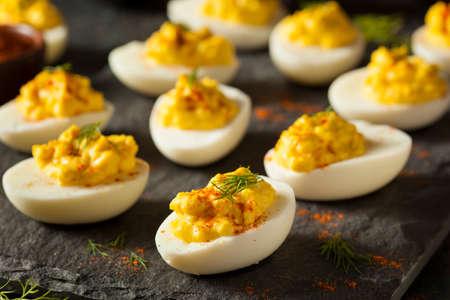 파프리카와 딜이 든 수제 매운 매운 달걀