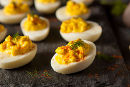 deviled eggs: Homemade Spicy Deviled Eggs with Paprika and Dill