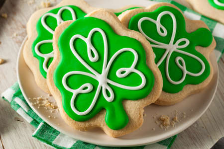 Green Clover St Patricks Day Cookies Ready to Eat photo