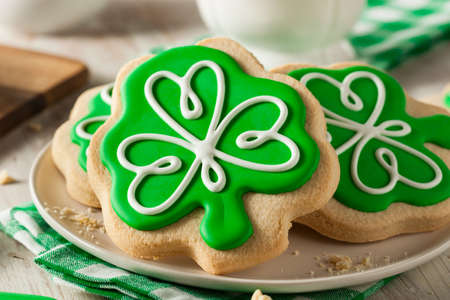 st: Green Clover St Patricks Day Cookies Ready to Eat Stock Photo