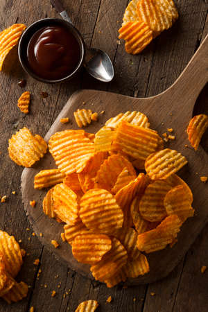 Hot Barbeque Potato Chips Ready to Eat Stock Photo