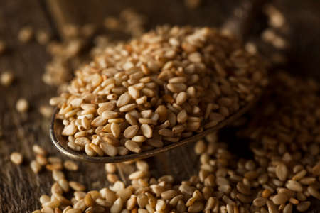 sesame seeds: Raw Organic Sesame Seeds in a Bowl