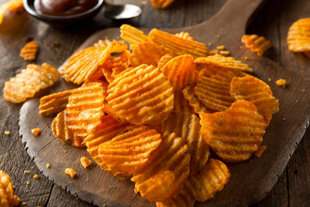 Hot Barbeque Potato Chips Ready to Eat Banco de Imagens