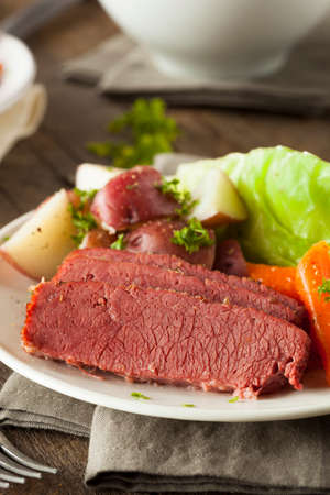 st patty day: Homemade Corned Beef and Cabbage with Carrots and Potatoes Stock Photo