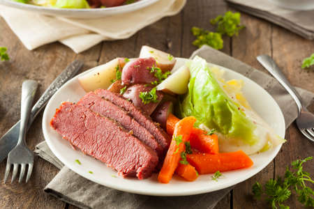 Homemade Corned Beef and Cabbage with Carrots and Potatoes 写真素材