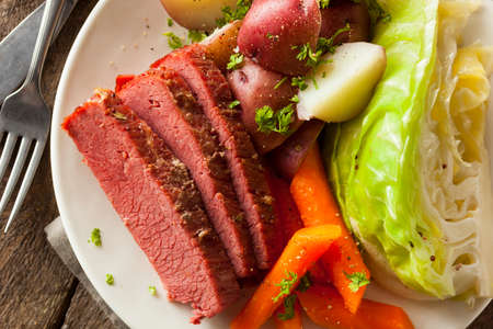 green cabbage: Homemade Corned Beef and Cabbage with Carrots and Potatoes Stock Photo