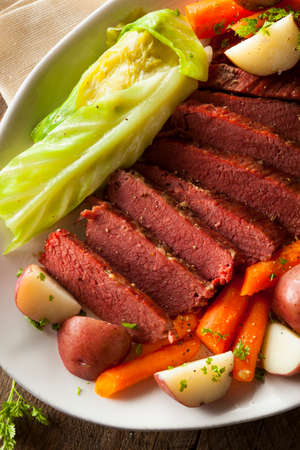st  patty: Homemade Corned Beef and Cabbage with Carrots and Potatoes Stock Photo