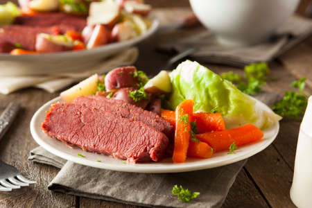 Homemade Corned Beef and Cabbage with Carrots and Potatoes Stock Photo