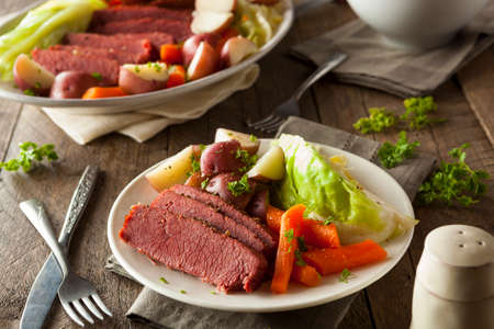 st patrick's day: Homemade Corned Beef and Cabbage with Carrots and Potatoes Stock Photo