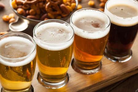 drunk: Assorted Beers in a Flight Ready for Tasting