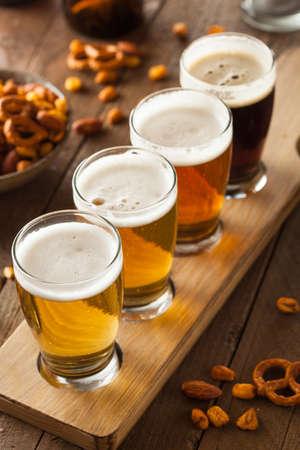 pilsner beer: Assorted Beers in a Flight Ready for Tasting