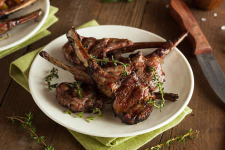 roast lamb: Organic Grilled Lamb Chops with Garlic and Lime Stock Photo