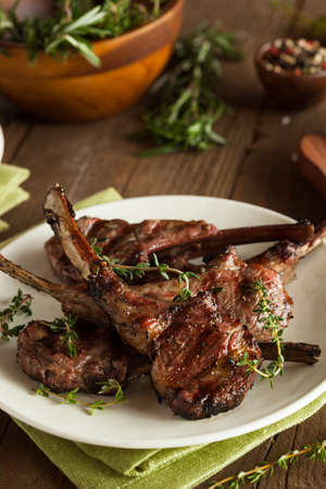 bbq sauce: Organic Grilled Lamb Chops with Garlic and Lime Stock Photo