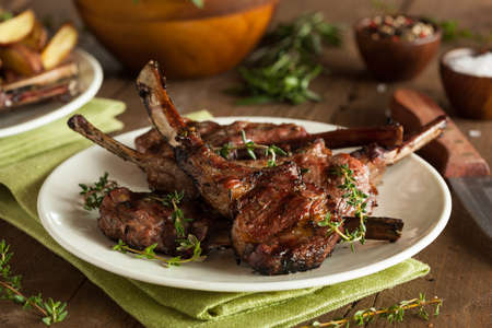 grill: Organic Grilled Lamb Chops with Garlic and Lime Stock Photo