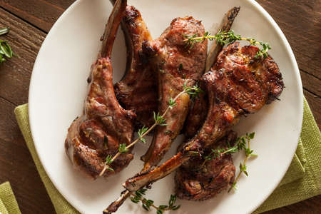 lamb chop: Organic Grilled Lamb Chops with Garlic and Lime Stock Photo