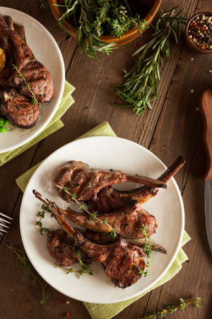 rack of lamb: Organic Grilled Lamb Chops with Garlic and Lime Stock Photo
