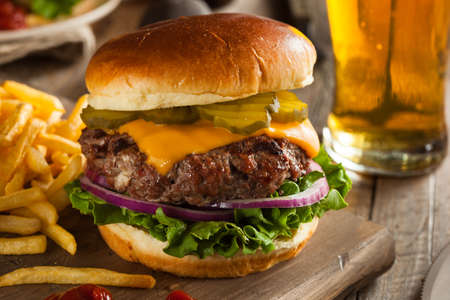 fry: Grass Fed Bison Hamburger with Lettuce and Cheese Stock Photo