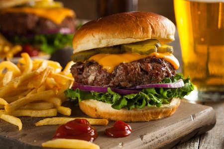 hamburguesa: Hierba Fed Bison hamburguesa con lechuga y queso Foto de archivo