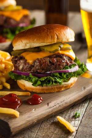 buffalo grass: Grass Fed Bison Hamburger with Lettuce and Cheese Stock Photo