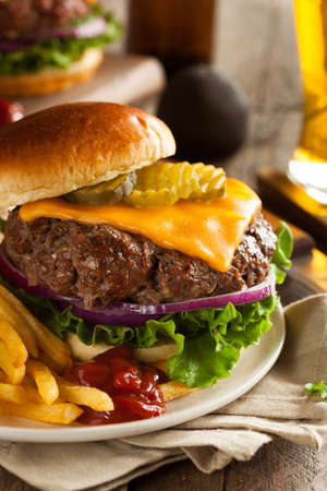 are fed: Grass Fed Bison Hamburger with Lettuce and Cheese Stock Photo