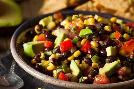Homemade Texas Caviar Been Dip with Chips Stock Photo