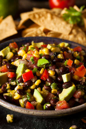Homemade Texas Caviar Been Dip with Chips photo