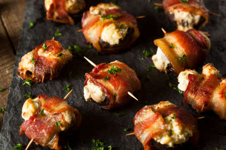 bacon fat: Homemade Bacon Wrapped Mushrooms Stuffed with Cream Cheese