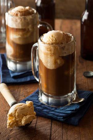 Refreshing Root Beer Float with Vanilla Ice Cream