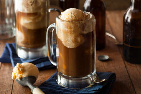 Refreshing Root Beer Float with Vanilla Ice Cream