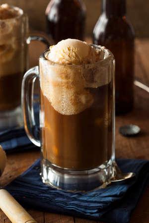 root beer: Refreshing Root Beer Float with Vanilla Ice Cream