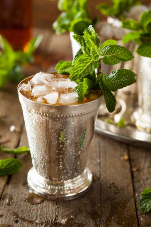 mint leaves: Refreshing Cold Mint Julep Stock Photo