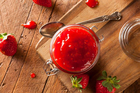 Homemade Organic Strawberry Jelly in a Jar