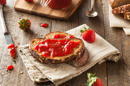 Homemade Strawberry Jelly on Whole Wheat Toast Banco de Imagens