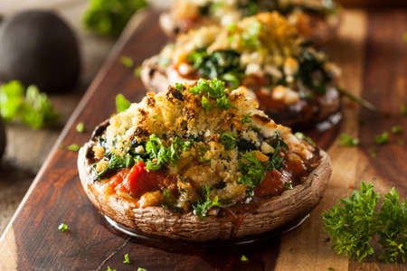 Homemade Baked Stuffed Portabello Mushrooms with Spinach and Cheese Reklamní fotografie