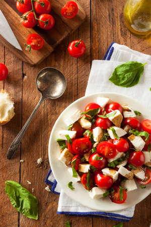 white cheese: Homemade Healthy Caprese Salad with Tomato Mozzarella and Basil Stock Photo