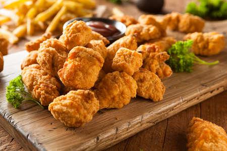 chicken breast: Homemade Crispy Popcorn Chicken with Barbecue Sauce