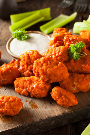 boneless: Hot and Spicy Boneless Buffalo Chicken Wings with Ranch