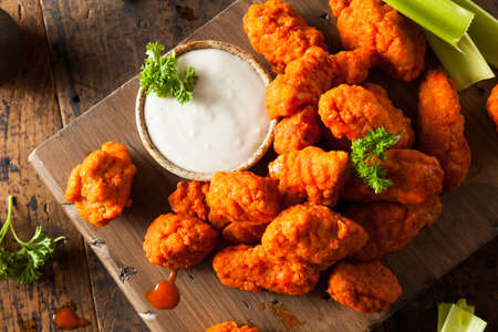 ranch: Hot and Spicy Boneless Buffalo Chicken Wings with Ranch