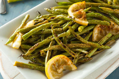 greenbeans: Homemade Sauteed Green Beans with Lemon and Garlic Stock Photo