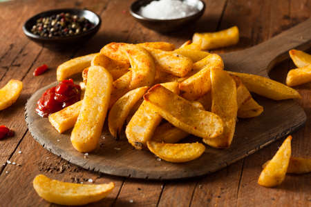 Homemade Salty Steak French Fries with Ketchup Archivio Fotografico