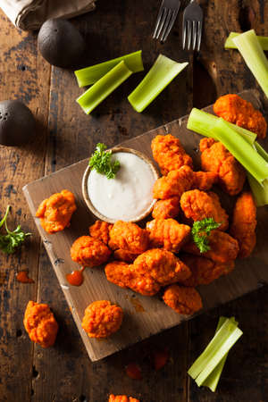 fried chicken wings: Hot and Spicy Boneless Buffalo Chicken Wings with Ranch