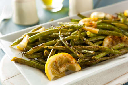 Homemade Sauteed Green Beans with Lemon and Garlic Stock Photo