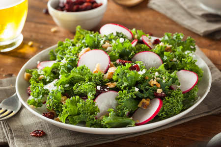 Healthy Raw Kale and Cranberry Salad with Cheese and Nuts Stock fotó