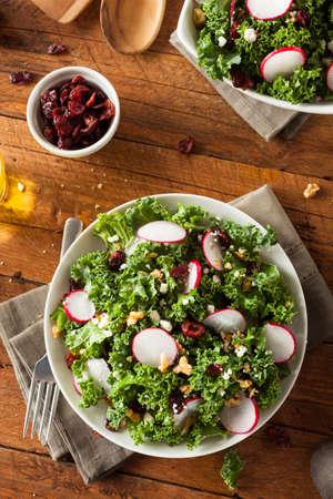 ensalada verde: Saludable Raw Kale y ar�ndano Ensalada con queso y nueces