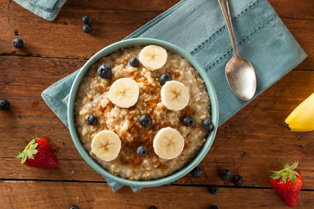 Homemade Healthy Steel Cut Oatmeal with Fruit and Cinnamon Archivio Fotografico